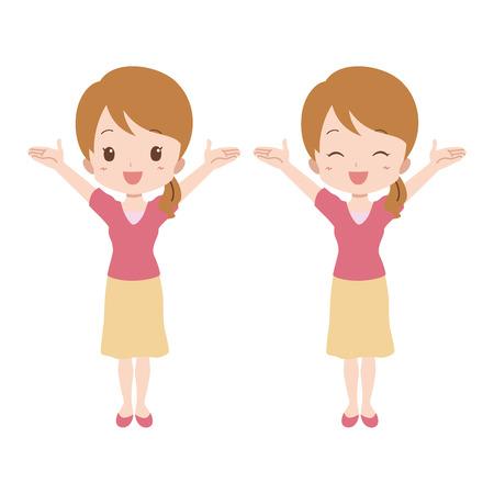 女の子が感じる幸せ  イラスト・ベクター素材