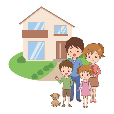 family moving house: family Illustration