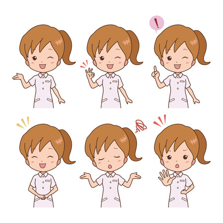 healthcare worker: woman_pose  Illustration