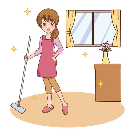 western style room: woman_cleaning
