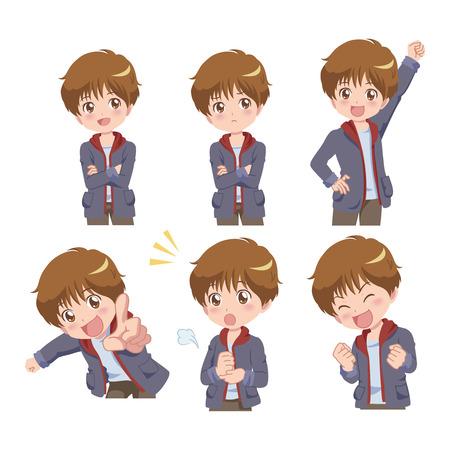 Manga Styled Boy with Multiple Poses
