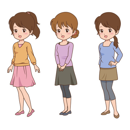 stereotypical: Manga Styled Woman with Multiple Poses