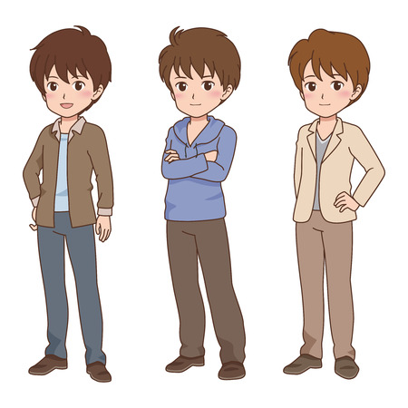 cool guy: Manga Styled Man with Multiple Poses Illustration