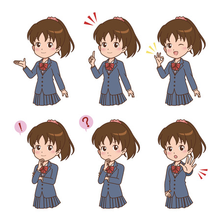 animation teenagers: girl pose