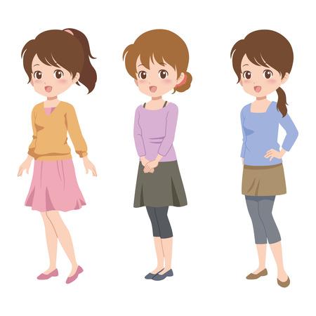 女性のポーズ  イラスト・ベクター素材