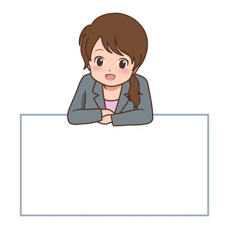 asian business: woman pose Illustration