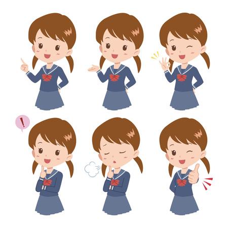 asian student: girl pose