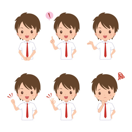 asian student: boy pose Illustration