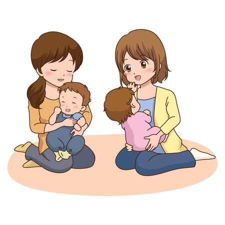 asian family: woman baby