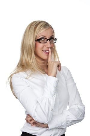 shush: Friendly woman thinking, wearing black framed glasses