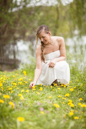 bending down: Beautiful woman with long blond hair picking flowers bending down in a summer meadow amongst the colourful wildflowers