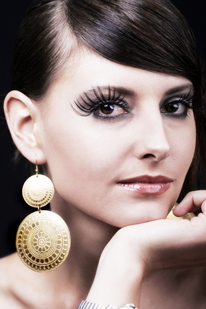 highfashion: Beauty portrait of high-fashion woman with elegant make-up and accessories