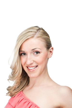 off the shoulder: Female model smiling in off shoulder blouse on white background