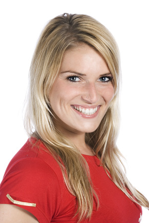 Close up Smiling Young Blond Woman in Casual Red Shirt While Looking at the Camera. Isolated on White Background. Stock Photo
