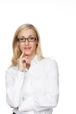 speculative: Close up Friendly Young Businesswoman Smiling at the Camera with Arms Crossing In Front her Body Against White Background.