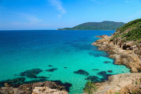 perhentian: Rocky coast in Perhentian Islands, Terengganu, Malaysia. Stock Photo