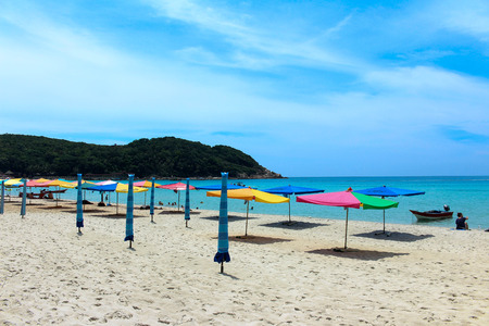 terengganu: Umbrellas on the beach in Long Beach, Pulau Perhentian, Terengganu, Malaysia.
