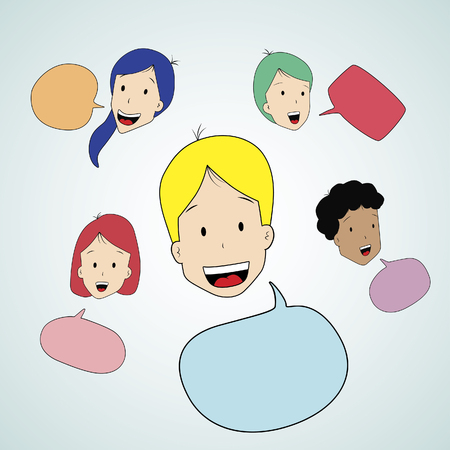 Teen talking with speak bubbleFiles  Vector