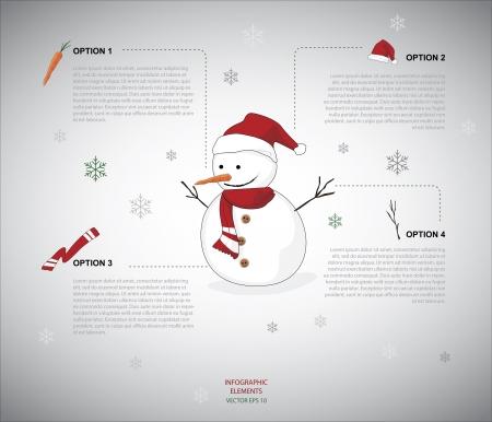 雪だるまのインフォ グラフィック  イラスト・ベクター素材