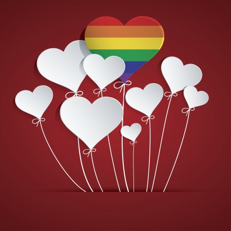 Rainbow Heart Balloon Vector