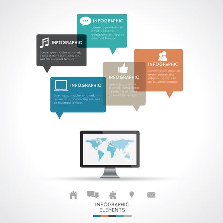 Modern Infographics Easy to Edit , adjust color and size. Illustration
