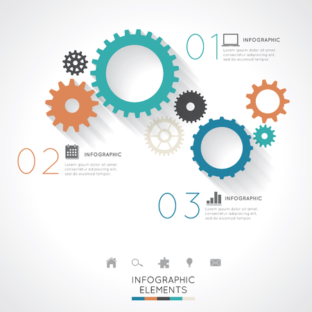 Gear Infographics Easy to Edit , adjust color and size.