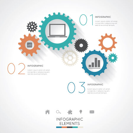 adjust: Gear Infographics Easy to Edit , adjust color and size.