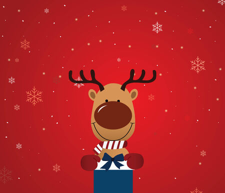 adjust: Reindeer holding giftboxEasy to Edit , adjust color and size.