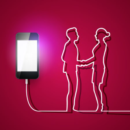 agreement shaking hands: Mobile phone with charger man and woman connection on red background