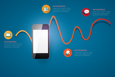 adobe: Infographic smart phone design icons text concept background illustration.  Files included : - EPS10 vector file  - Adobe Illustrator vector file - High resolution JPEG 300dpi (5000x5000)   Easy to Edit , adjust color and size. Illustration