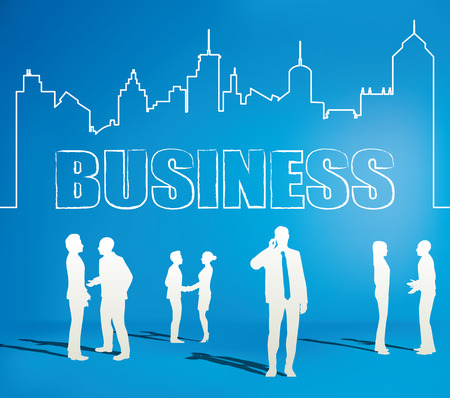 illustrator  vector: Business people team with city line  Files included : - EPS10 vector file  - Adobe Illustrator vector file - High resolution JPEG 300dpi (5000x5000)   Easy to Edit , adjust color and size. Illustration