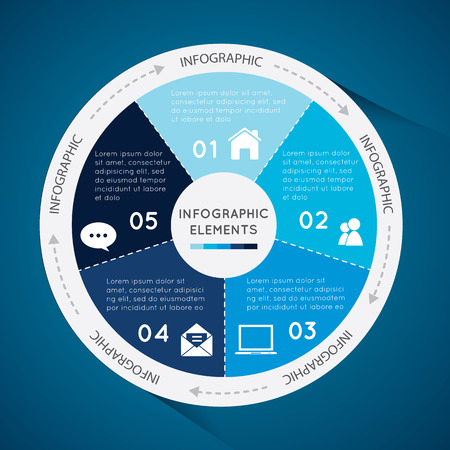 coordinating: Vector circle business concepts with icons can use for infographic, loop business report or plan,modern template ,education template,business brochure and system diagram on blue background.