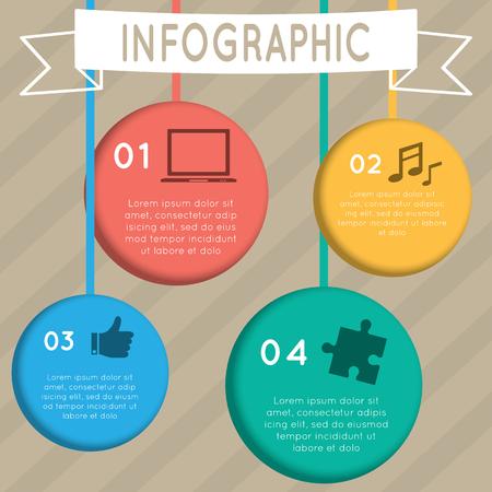 Einbuchtung: Infografik Colorful h�ngende Kreis mit vier Zeichen gesetzt.