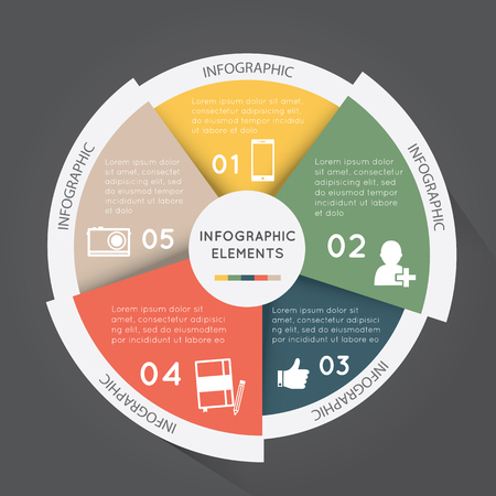 Modern infographic elements pie chart for documents and reports for documents, graph,business plan, education,web,banners, mobile applications,layouts etc. Vector