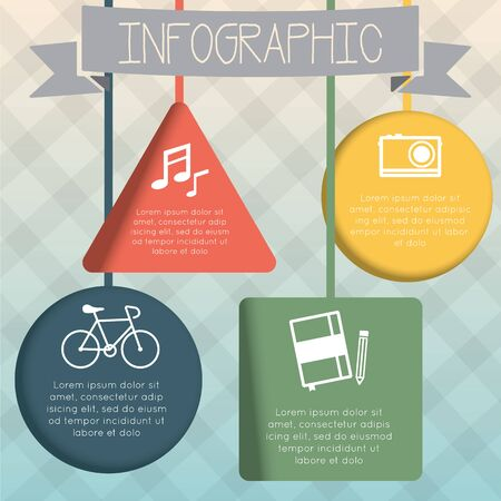 indentation: Colorful infographic hanging geometric shape set with four symbol.