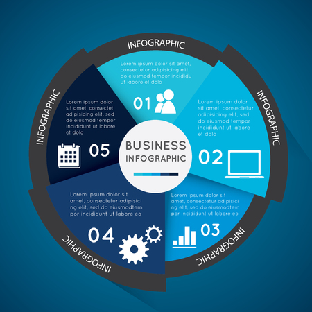 Business infographic pie chart for documents and reports for documents,  reports,graph,business plan,education. Illustration