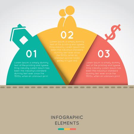 halve cirkel infographic elementen concept voor succes business project sjabloon met tekst gebieden op drie posities.