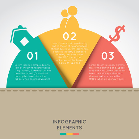 semicircle: semicircle infographic elements concept for success business project template with text areas on three positions . Illustration