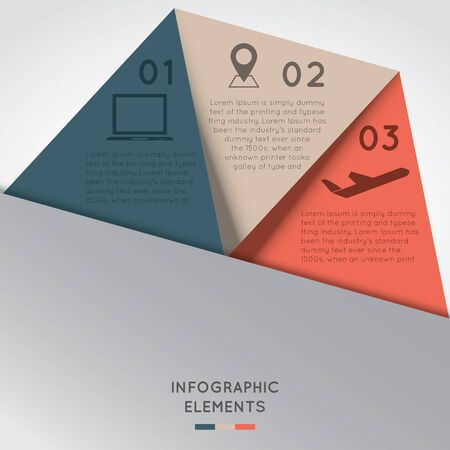 multi level: Infographic Elements in Triangle Shape and 3 segments.  Illustration