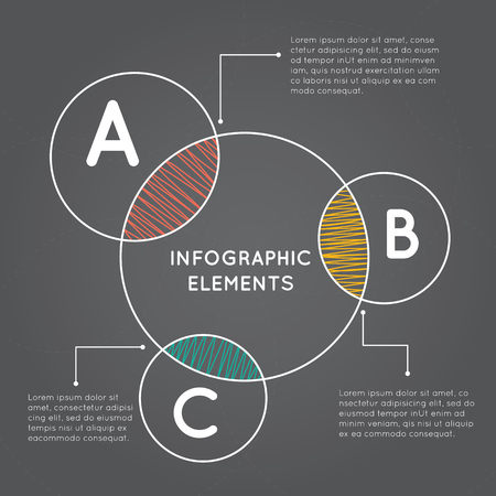 Infographics overlapping circles with A B C on grey background.