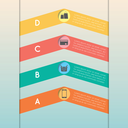 orange color: Color triangle arrows template step option with A B C D. Can be used for workflow layout, diagram, web design, infographics. Illustration