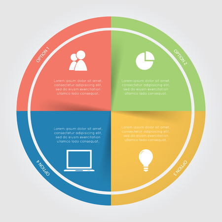 a wheel: Color circular Chart Infographic. Template for diagram, graph, presentation and chart. Business concept with 4 options, parts, steps or processes on the white background.