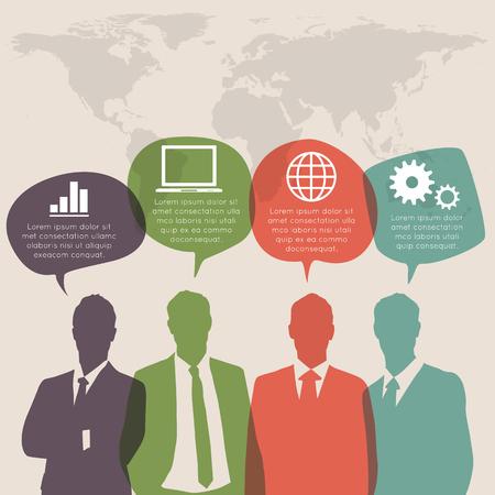 working people: Die arbeitende Bev�lkerung mit bunten Sprechblase Illustration