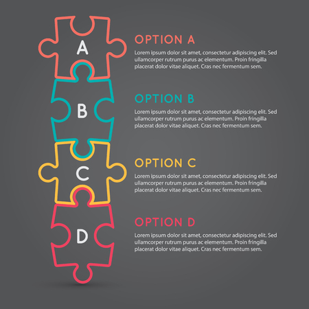 d data: Business puzzle pieces infographic option tools vector