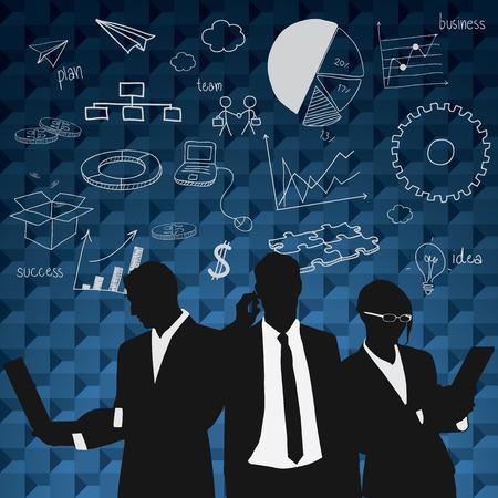비즈니스 사람들이 그룹 검은 실루엣 개념 비즈니스 사람들이 팀 그래프 금융 차트 다이어그램 배경입니다. 일러스트