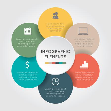 Vector cirkel bloem infographic. Sjabloon voor diagram, grafiek, presentatie en grafiek. Bedrijfsconcept met zes opties, delen, stappen of processen op de witte achtergrond. Stock Illustratie