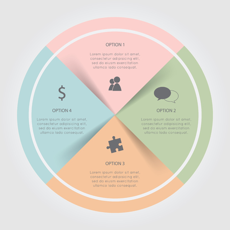 cash cycle: Color circular Chart Infographic. Template for diagram, graph, presentation and chart. Business concept with 4 options, parts, steps or processes on the white background.