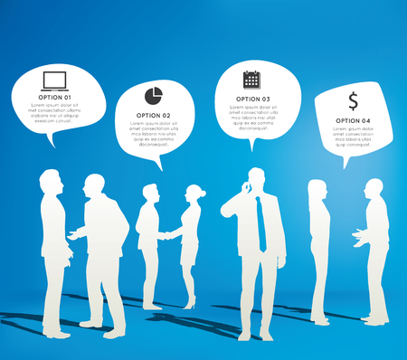 people laptop: Silhouettes of Business People Working and Speech Bubbles Illustration