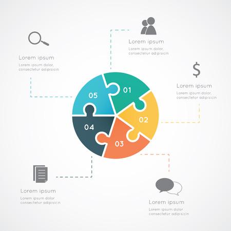Kleurrijke vijf eenzijdige cirkel puzzel presentatie infographic sjabloon met verklarende banner en tekstveld.
