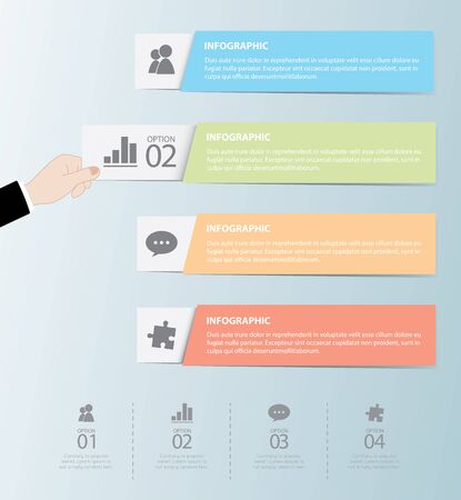 speech bubble: Flat Infographics Template and Web Elements - Business,Marketing Touch and Choose Concept Vector Design Illustration
